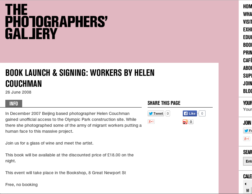 WORKERS by Helen Couchman book launch at The Photographers Gallery 2008