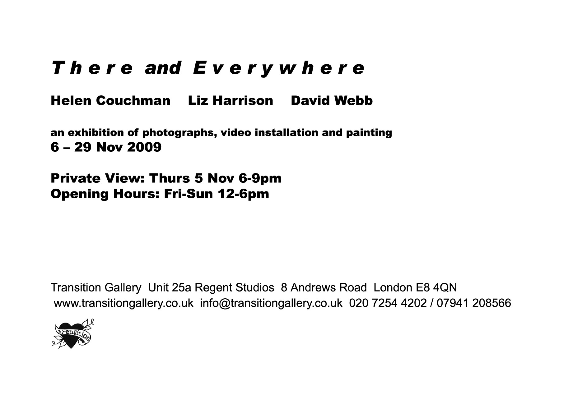 There and Everywhere - exhibition invite, Helen Couchman, David Webb, Liz Harrison at Transition Gallery text