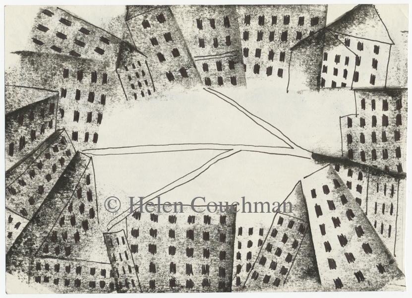 drawing, print, buildings, parks, urban, space, green, built-up, places, paper