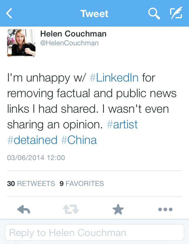 Complaint about Linkedin on twitter