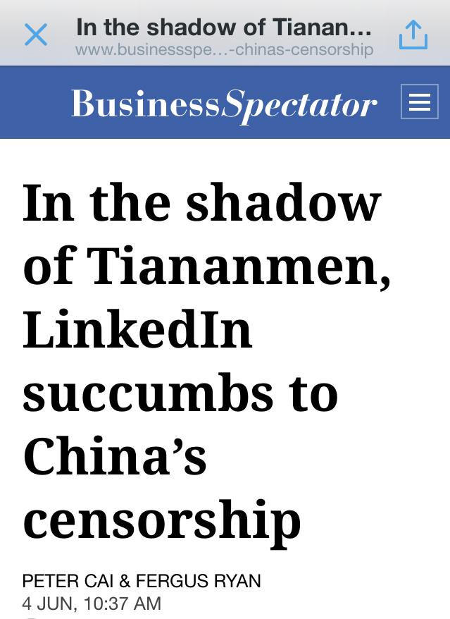 Linkedin story in the Business Spectator 4 June 2014