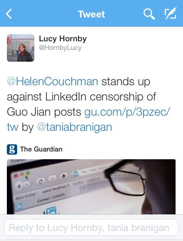 Lucy Hornby Linked in Twitter