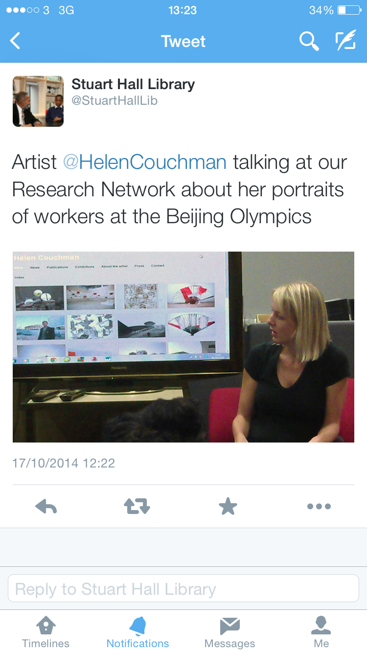 Photo of Helen Couchman speaking about her work at INIVA Oct 2014