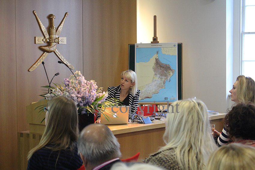 Omani Women art project, Helen Couchman presents at the Anglo-Omani Society. copyright Chloe Brookes