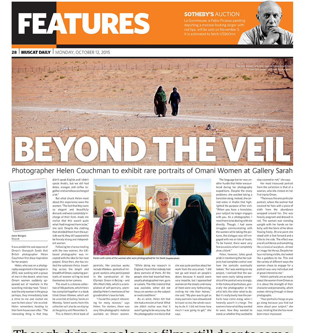 Article Beyond the Veil in the Muscat Daily about new project 'Omani Women' by Helen Couchman